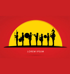 Silhouette marching band vector