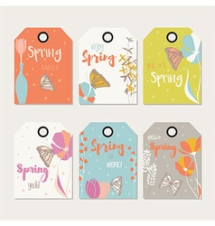 Spring floral gift tag design with flowers vector