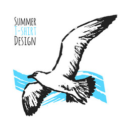 summer t-shirt design with flying seagull vector image vector image
