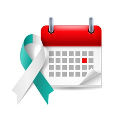 Teal and white awareness ribbon and calendar vector