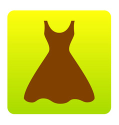 Woman dress sign brown icon at green vector