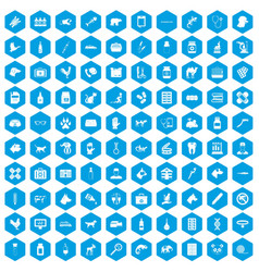100 veterinary icons set blue vector