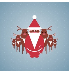 Santa and his reindeer gang vector