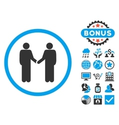 Handshake flat icon with bonus vector