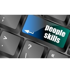 People skills words message on enter key of vector