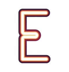 Glowing neon letter E vector image