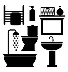 Bathroom toilet black icons set black vector