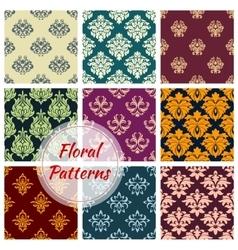 Floral ornate motif seamless patterns set vector