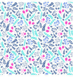 vibrant color floral seamless pattern with flowers vector image