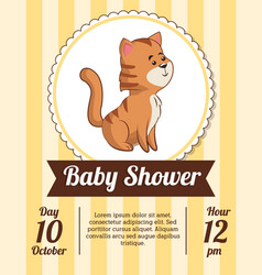 Baby shower card invitation date cute tiger vector