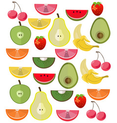 Fresh exotic fruits set collection vector