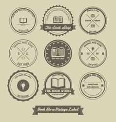 Book store vintage label design vector