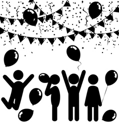Flat celebration icons with air balloons confetti vector image