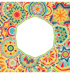 Bright rounds at ethnic frame vector