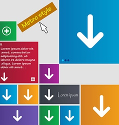 Arrow down download load backup icon sign metro vector
