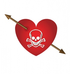 Skull with hearts and arrows vector