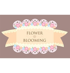 Pastel orange flower blooming tag label vector