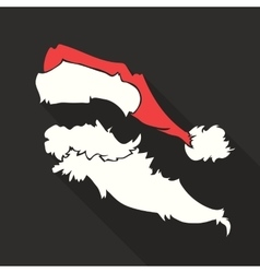 Flat design santa claus face with beard and vector