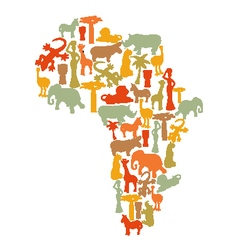 Map of africa with african symbols vector