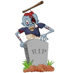 Zombie with axe at the gravestone vector