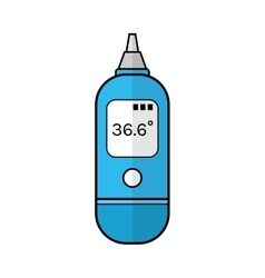 Ear thermometer for human body flat color icon vector