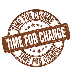 Time for change brown grunge round vintage rubber vector