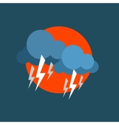 Strong lightning storm natural force sticker vector