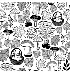 Black and white seamless pattern with autumn vector