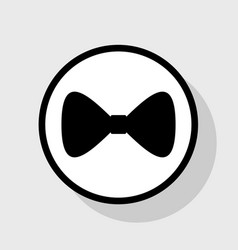 bow tie icon flat black icon in white vector image vector image