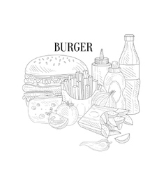 Burger fries and soda fast food lunch hand drawn vector