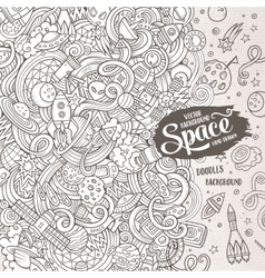 Cartoon cute doodles hand drawn space vector