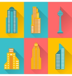 Cityscape icon set of buildings vector image vector image