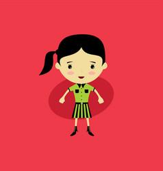Cute happy little woman - adorable girl cartoon vector