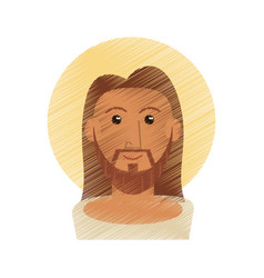 Drawing jesus christ portrait image vector