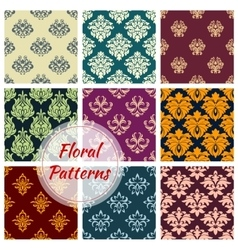 Floral ornate motif seamless patterns set vector image vector image