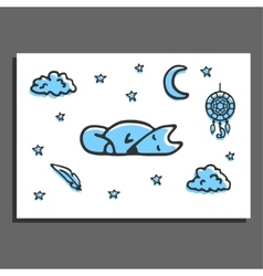Greeting card with sleeping fox moon stars and vector image vector image