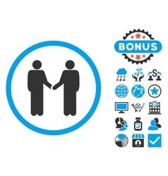 Handshake flat icon with bonus vector