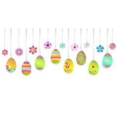 Hanging colorful Easter eggs vector image vector image