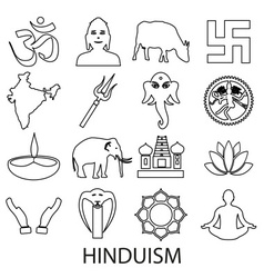 Hinduism religions symbols set of outline icons vector