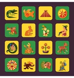 Maya green and yellow icons set vector