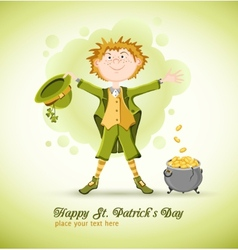 Saint Patrick Day Leprechaun with lucky pot vector image