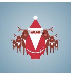 Santa and his reindeer gang vector