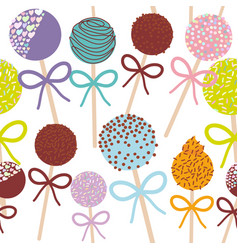 Seamless pattern colorful sweet cake pops set with vector