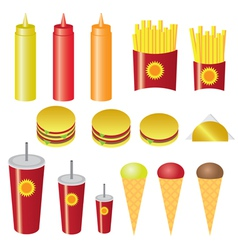 set of fast food vector image vector image