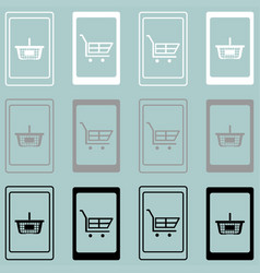 Smartphone with basket and hand cart vector