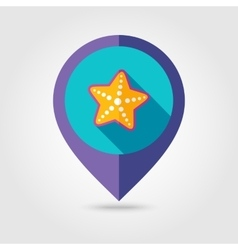 Starfish flat mapping pin icon with long shadow vector