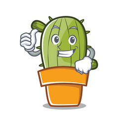 thumbs up cute cactus character cartoon vector image