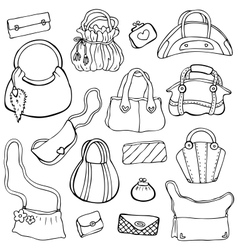 Womens handbags Hand drawn Set 3 vector image vector image