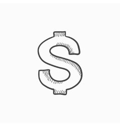 Dollar symbol sketch icon vector