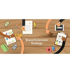 brand extension strategy with team vector image